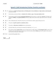 COMM 001 Speech 1 Outline Rubric and Checklist