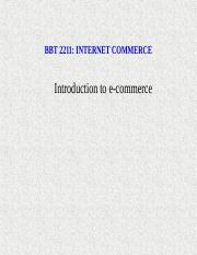Introduction to Internet Commerce