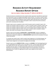 Research Report Assignment