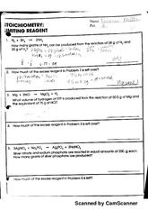 Stoichiometry Limiting Reagent Worksheet - Synhoff