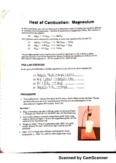 chem lab heat of combustion of magnesium Mark first needs to determine how much heat is produced by the combustion of magnesium when magnesium is burned in oxygen, a large quantity of heat is released, which.
