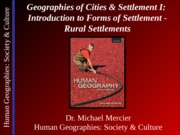 Lecture 14 - Urban I - Rural Settlements