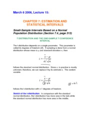 Complete Notes for Mar 6 - Small-Sample Intervals Based on a Normal Population Distribution (7.4)