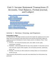 Unit 3_ Income Statement Transactions (T-Accounts, Trial Balance, Formal Journal, and Ledger)