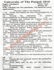 Past Papers 2010 Punjab University BA BSc Chemistry Paper B