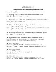 Math 151 Assignment 13