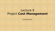 Lecture 9- Cost Management