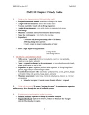 BMS110 Chapter 1 Study Guide