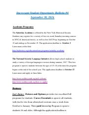 4th Weekly Student Opportunity Bulletin 4 September 30