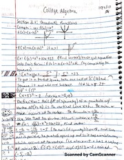 Notes on Quadratic Functions