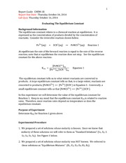 EVALUATING THE EQUILIBRIUM CONSANT