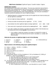 Sig Fig Review Sheet w/ Practice Qs & Answers