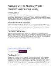 Analysis Of The Nuclear Waste Problem Engineering Essay.docx