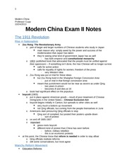 Modern China Exam II Notes