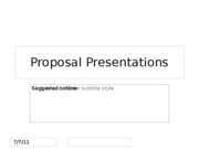 Proposal Presentation outline