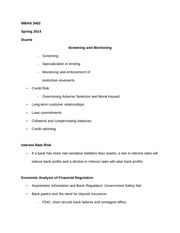 MBAN 3402 Notes on Screening and Monitoring