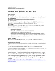 Notes on SWOT and other analysis tools