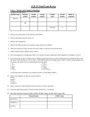 SCH 3U Exam Review (23) - SCH 3U Final Exam Review Unit 1 Matter and