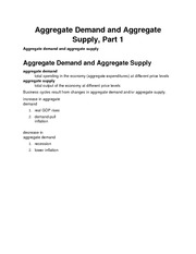 Aggregate Demand and Aggregate Supply, Part 1