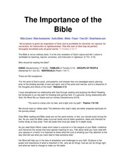 The Importance of the Bible - Notes