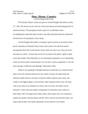 English - Duty, honor, country speech summary