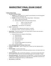 Marketing final exam cheat sheet Coursework Example