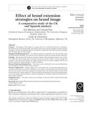 Eva Martinez, Yolanda Polo, dan Leslie de Chernatony Effect of brand extension strategies on brand i