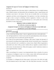 Assignment On Aspects of Contract and Negligence for Business Essay.docx