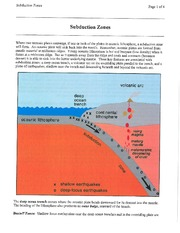 subduction - shallow vs deep earthquakes W-B zone