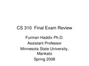 CS 310 Final Exam Review
