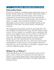 7.1.1 - Lesson Map - Introduction to Waves