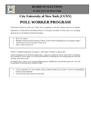 CUNY_Student_Poll_Worker_Program