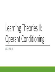 Lecture 16 Operant Conditioning 1