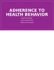 Adherence to Healthy Behavior.pptx