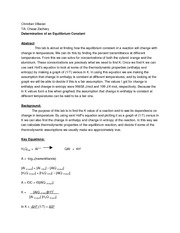 CHM 201 Lab - Determination of an Equilibrium Constant