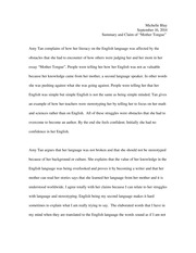 amy tan mother tongue her language from her mother and is  2 pages summary and claim mother tongue