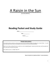 A Raisin in the Sun Reading Packet