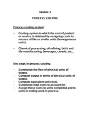 Process Costing - Notes