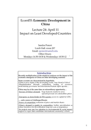 ECON 455 Lecture 24 Impact on Least Developed Countries