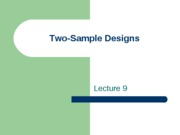 Lecture 9 Two Sample Designs