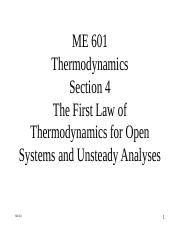ME 601-Section 4 - The First Law for Open Systems.ppt
