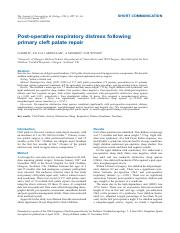 Post-operative respiratory distress following primary cleft palate repair.pdf