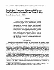 Predicting corporate financial distress, Reflections on choice-based sample bias