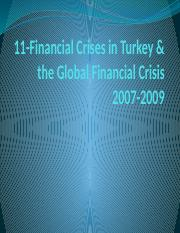 11. Financial Crises in Turkey and the 2007-2009 Global Financial Crisis