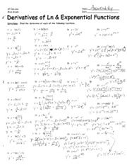 Ln_and_Exp_Derivatives_ANSWER_KEY
