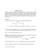 Confidence Interval Problem Set