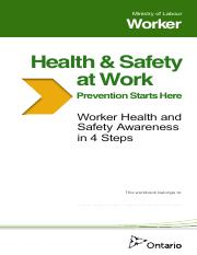 Ministry of Labour Worker Ontario - Health & Safety at Work Booklet