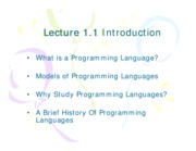 Lect 1.1 Introduction to PL