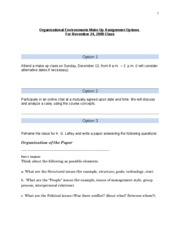 Organizational Environments Make Up Assignment Options For November 24