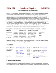 PHY 251 F98 Course Info